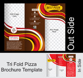 Tri Fold Pizza Brochure Tempate Stock Photos