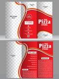 Tri fold pizza brochure template design Stock Photo