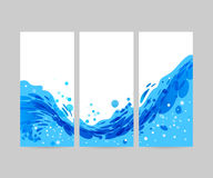 Tri-fold wave background, brochure design. Wave abstract stylized background, brochure template, blue wave on white background, tri-fold water vector illustration