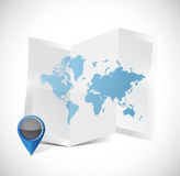 Tri-fold world map and pointer illustration design Stock Photography