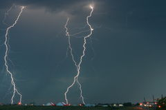 Tri Lightning Bolt Strike over Moose Jaw Royalty Free Stock Image