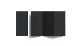 Tri modello piegato nero in bianco del libretto, aperto e chiuso Immagini Stock
