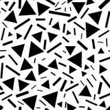 Tri?ngulos y l?neas modelo incons?til Triángulos caóticos monocromáticos y líneas cortas stock de ilustración