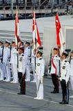 Tri-service vlagpartij bij NDP 2009 Royalty-vrije Stock Afbeeldingen