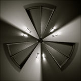 Tri-sided distorted door and lights in a circle Royalty Free Stock Photography