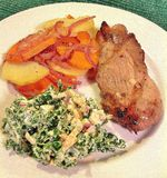 Tri Tip with Roasted Root Vegetables and Kale Slaw royalty free stock photography