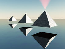 Triad of floating Pyramids Royalty Free Stock Photography