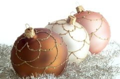 Triad round Christmas decorations Royalty Free Stock Images