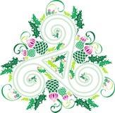 Triade celtica con i fiori dei cardi selvatici Immagine Stock Libera da Diritti