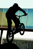 Trial. The silhouette of a trial rider Royalty Free Stock Photography