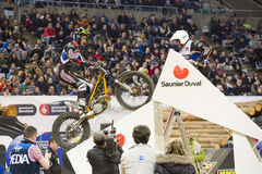 Trial - Albert Cabestany. Albert Cabestany compete at Trial Indoor of Barcelona, on February 9, 2014, in Palau Sant Jordi stadium, Barcelona, Spain. Toni Bou was Stock Photos