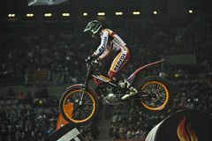 Trial and Enduro indoor World Championship in Barc. Toni Bou, Montesa team,win in the X-Trial indoor trial FMI world championship 2nd round Barcelona Palau Sant Royalty Free Stock Photos