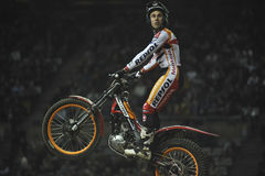 Trial and Enduro indoor World Championship in Barc. Toni Bou, Montesa team, is exultant after the competition win in the X-Trial indoor trial FMI world Stock Images