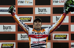 Trial and Enduro indoor World Championship in Barc. Toni Bou, Montesa team, is exultant after the competition win in the X-Trial indoor trial FMI world Stock Photography