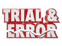 Trial and Error 3d Red Words Keep Trying Persistence Experimenti Royalty Free Stock Photos