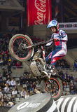 Trial - James Dabill. James Dabill compete at Trial Indoor of Barcelona, on February 9, 2014, in Palau Sant Jordi stadium, Barcelona, Spain. Toni Bou was the Royalty Free Stock Image