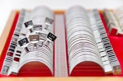 Trial lens kit. For eye exam on white stock images
