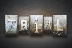 Trial Letterpress. The word TRIAL written in vintage letterpress type stock image