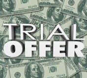 Trial Offer 3d Words Money Background Save Cash Stock Photos