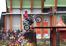 Trial. Riders compete in the game in a circuit in Karanganyar, Central Java, Indonesia Stock Image