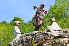 Trial Spain Championship. EL Condao, SPAIN - MAY 10: Trial Spain Championship on May 10, 2015 in El Condao, Spain. Moment when Toni Bou is ready to jump over Stock Image