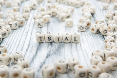 TRIAL word written on wood block. Wooden ABC Stock Images