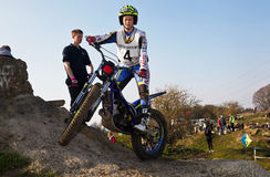 Trials rider preparing for a jump Royalty Free Stock Photography