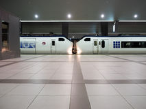 Trian at kansai station. Osaka, Japan - June 27, 2014 : Two train face to face at Kansai station waiting for passage before leave Royalty Free Stock Photography