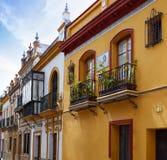 Triana dzielnica Seville fasady Andalusia Hiszpania Obraz Royalty Free
