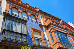 Triana dzielnicy fasady w Seville Andalusia Hiszpania Zdjęcia Stock