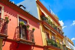 Triana dzielnicy fasady w Seville Andalusia Hiszpania Zdjęcia Royalty Free
