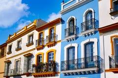 Triana dzielnicy Seville fasady Andalusia Hiszpania Zdjęcia Stock