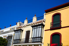 Triana dzielnicy Seville fasady Andalusia Hiszpania Obraz Royalty Free