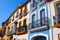 Triana dzielnicy Seville fasady Andalusia Hiszpania Zdjęcie Royalty Free