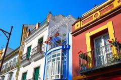 Triana dzielnicy Seville fasady Andalusia Hiszpania Obrazy Royalty Free