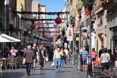 Triana, Las Palmas. LAS PALMAS, SPAIN - NOVEMBER 30, 2015: People visit Triana shopping street in Las Palmas, Gran Canaria, Spain. Canary Islands had record 12.9 royalty free stock photo