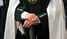 Triana nazarene, man hands, brotherhood of Hope, Holy Week in Seville, Andalusia, Spain Royalty Free Stock Images