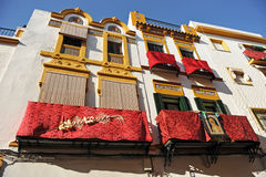 Triana quarter balconies during Holy Week, Sevilla, Andalusia, Spain Royalty Free Stock Images