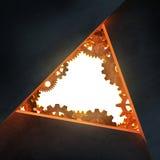 Triangelöppning med kugghjul. Stock Illustrationer