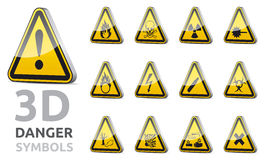 Triangel danger sign 3D. 3D isolated  Triangle danger and warning sign collection with reflection and shadow on white background Stock Images