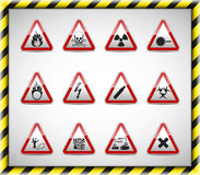 Triangel red danger sign. Isolated  Danger sign collection with reflection and shadow on white background Royalty Free Stock Images