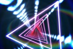 Triangeldesign med glödande ljus Arkivfoton