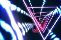 Triangeldesign med glödande ljus Fotografering för Bildbyråer