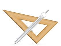 Triangellinjal och teckningskompass Royaltyfri Foto