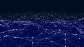 Triangellinjer och sfärer för Digitala data och för nätverksanslutning i futuristiskt datateknikbegrepp på svart, abstrakt begrep royaltyfri bild