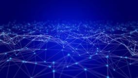 Triangellinjer och sfärer för Digitala data och för nätverksanslutning i futuristiskt datateknikbegrepp på svart, abstrakt begrep fotografering för bildbyråer