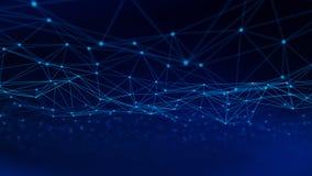 Triangellinjer och sfärer för Digitala data och för nätverksanslutning i futuristiskt datateknikbegrepp på svart bakgrund, 3d arkivfoton