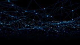 Triangellinjer och sfärer för Digitala data och för nätverksanslutning i futuristiskt datateknikbegrepp på svart bakgrund, 3d royaltyfria foton