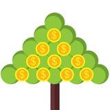 Triangelträd med myntet Arkivfoton