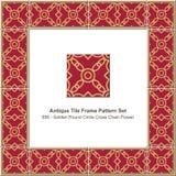 Triangl rosso stabilito della geometria della stella del poligono delle mattonelle del modello antico della struttura royalty illustrazione gratis